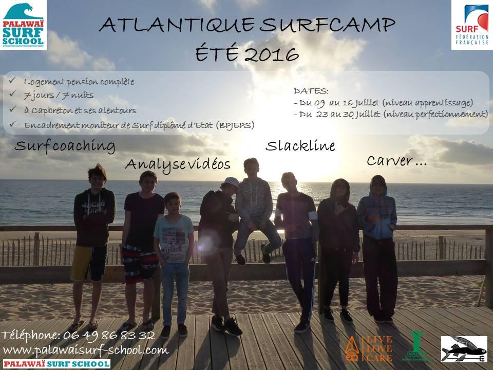 Affiche surf camp juillet 2016